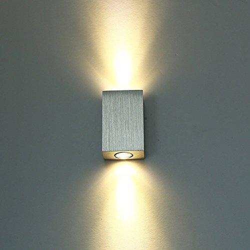 Unimall 6W LED Wandleuchte Wandflampe innen Flurlampe Hochwertige Aluminum mit schönem Lichteffekt und Modern Design Rechteck Silber Warmweiß [Energieklasse A] Wandleuchte Home Theater