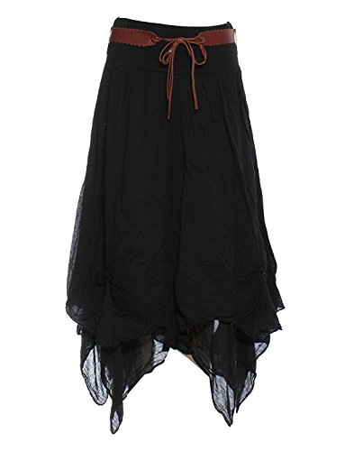 schwarz Einheitsgröße 36-40 - Halo Frauen Cotton Gypsy Tiered Hitched Hem Belted Damen Maxi Langer Rock (Rock Saum Tiered)