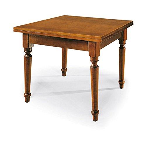 Giò luxury tavolo allungabile a libro con gambe tornite, stile classico, in legno massello e mdf con rifinitura in noce lucido - mis. 100 x 100 x 78