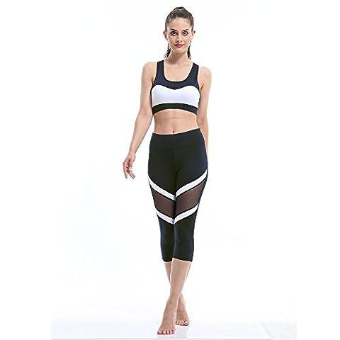 Bekleidung Hosen Loveso Sommer Atmungsaktiv Yoga Pants Fitness Sport Gamaschen Patchwork Hohe Taillen Dünne Elasthan Yoga Hose (S 26, Schwarz)