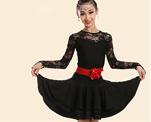 Grüne Und Schwarze Tanzkostüm - SMACO-Tanzkleidung für Kinder Mädchen Latin Dance Kostüm Tanzkostüm Spiel Rose Rot Grün Schwarz, 130cm, Black