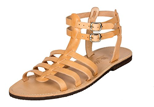 Römer Damen und Herren Sandalen Leder Beige Römersandalen Riemchen Sandale 36 - 47 Viele Größen Beige