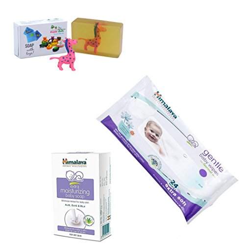 Himalaya Herbals Gentle Baby Wipes (24 Sheets)+Himalaya Gentle Baby Soap (75g) With Happy Baby Luxurious Kids Soap With Toy (100gm)