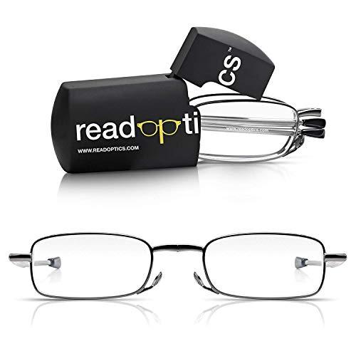 Read Optics kompakte Lesebrille in Stärke +3,0. Faltbar mit dunkelgrauem Vollrand, rechteckigen Gläsern in hoher Qualität und flexiblen Bügeln für optimalen Sitz. Inkl Hardcase Aufbewahrungsbox