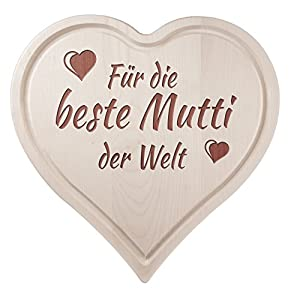 Casa Vivente Herz-Schneidebrett aus Ahorn-Holz mit Saftrille und Gravur Liebe Mama, Holzbrett zum Muttertag, 30 x 30 cm