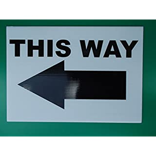 Event Signage - THIS WAY with Arrow pointing Left - White Direction signs