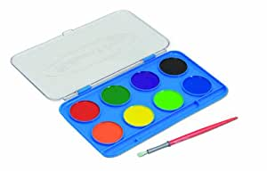 Melissa & Doug Jumbo Watercolor Set - 8 Colors in Sturdy Flip-Top Case With Deluxe Brush