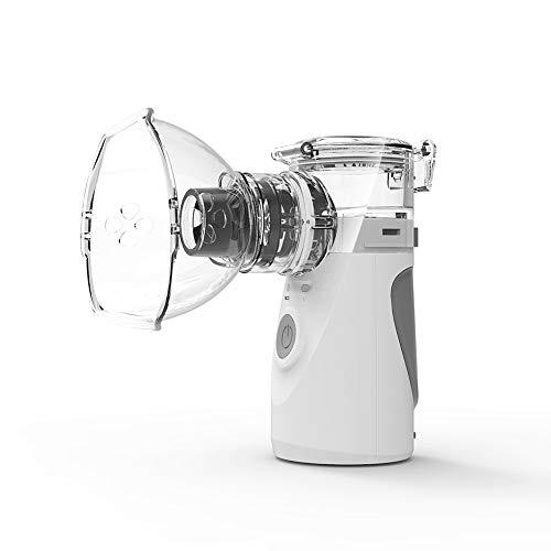 Yhmmoo inalatore nebulizzatore portatile ad ultrasuoni con boccaglio e maschera per bambini adulti e cura domestica quotidiana,white