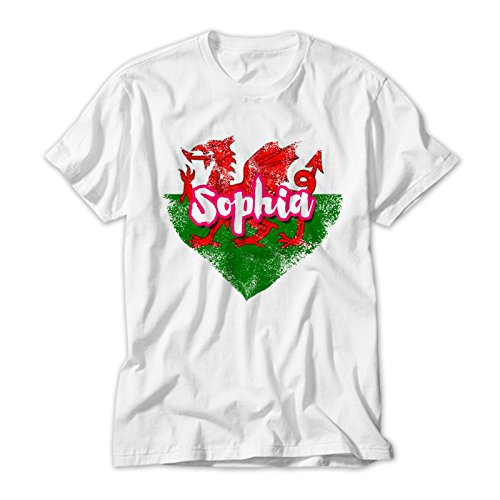 Welsh Flag Grunde Heart Kids T Shirt Personalised With Your Childs Name. Avalable In Sizes 2 to 12 yrs