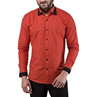 Tag & Trend Men's Slim Fit Casual and Party Wear RUFOUS BROWN Shirt by TRADIX INNOVATIONS (Size: 42 XL)