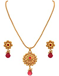 JFL - Traditional Ethnic One Gram Gold Plated Pink Designer Pendant Set With Chain For Girls And Women