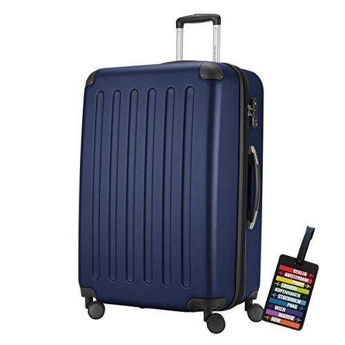 HAUPTSTADTKOFFER Hartschalen Koffer SPREE 1203 · NEU 4 Doppel-Rollen · MATT · TSA Zahlenschloss · + KOFFERANHÄNGER (128 Liter, Dunkelblau)