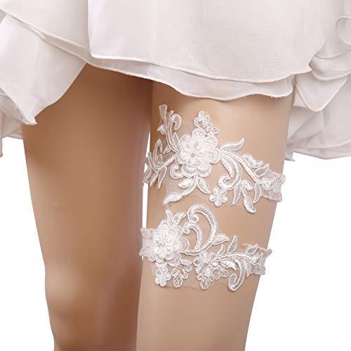 Set di 2 giarrettiere da sposa, giarrettiera in pizzo con fiori e foglie, elastica, per sposa bianco bianco
