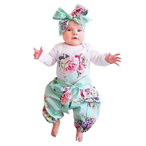 WINWINTOM - 3pcs Kleinkind Säuglingsbaby Mädchen Kleidung kleidet Sätze Tops + Hosen + Stirnband Ausstattungen (6-12 Monate, Weiß) Top Baby Spielzeug 6-12 Monate