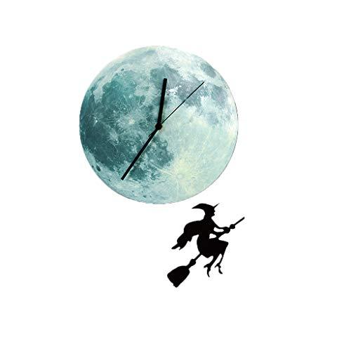Myspace 2019 Neueste Dekoration für Halloween Leuchtender Mond Moderne Stoppuhr Home Decoration Clock Wandpendel - Moderne Hexen Kostüm