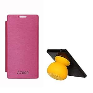 DMG Back Replace Flip Book Cover Case For Lenovo K3 Note/ Lenovo A7000 (Magenta) + Bluetooth Suction Stand Speaker