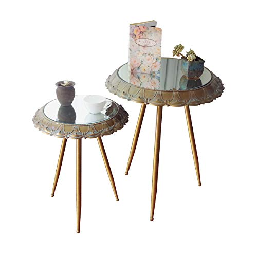 Lot de 2 Tables Basses gigognes/ Design style rétro/Plateau verre et Pieds de table en métal