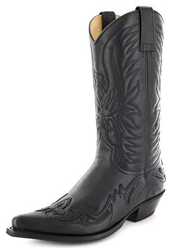 Fashion Boots Unisex Cowboy Stiefel BU1005 Schwarz Westernstiefel Cowboystiefel 45 EU -