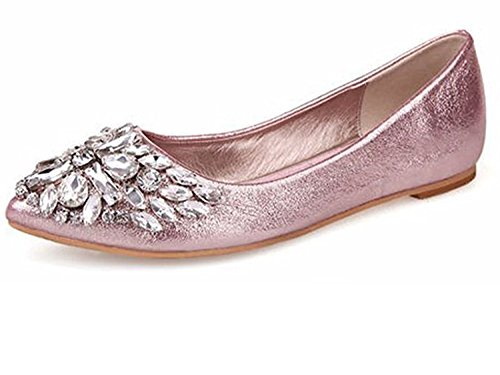 Minetom Damen Mädchen Mode Schuhe Spitze Schuhe Flache Ferse Bling Kristall Ballett Prinzessin Schuhe Rosa