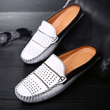 Herren Schuhe Casual Leder Slip-on Schwarz/Blau/Weiß Blau