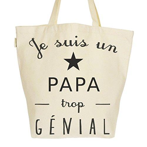 Grand Sac Cabas Fourre-tout Imprimé Toile Bio 37x45x20cm Tote Bag XL - Je suis un Papa trop génial