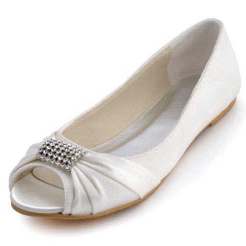 Elegantpark EP2053 Bout Ouvert Satin Strass Femme Plates Chaussures de Mariage Ivoire