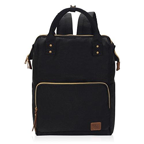 Veegul Nylon Rucksack Vintage Daypack Laptopfach für Damen Herren Schwarz
