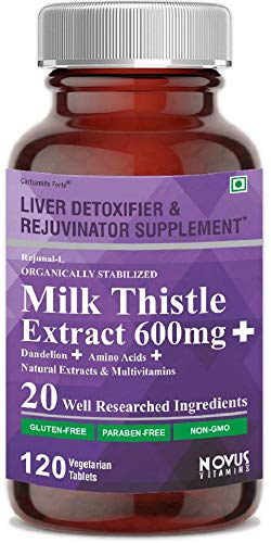 Carbamide Forte Silymarin Milk Thistle Extract 600mg with Dandelion, Amino Acids & Vitamins | Liver Detox, Cleanse & Support Supplement - 120 Veg Tablets