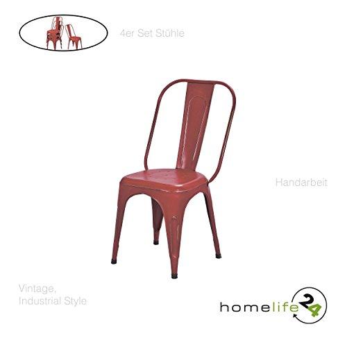 Stuhl Vintage 4er Set Metallstuhl rot vintage shabby retro Design für das Esszimmer oder Küche mit...