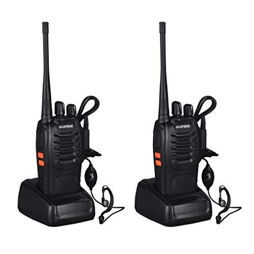 Cozime Walkie Talkie 16 Canales, Radio UHF 400-470 MHz, CTCSS DCS, Alcance de hasta 5 km, Talkie Walkie con el Auricular Incorporado Antorcha de LED y Cargador USB, 2 Unidades