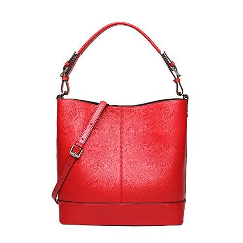 E-Girl Q0889 Damen Leder Handtaschen Satchel Tote Taschen Schultertaschen Rot