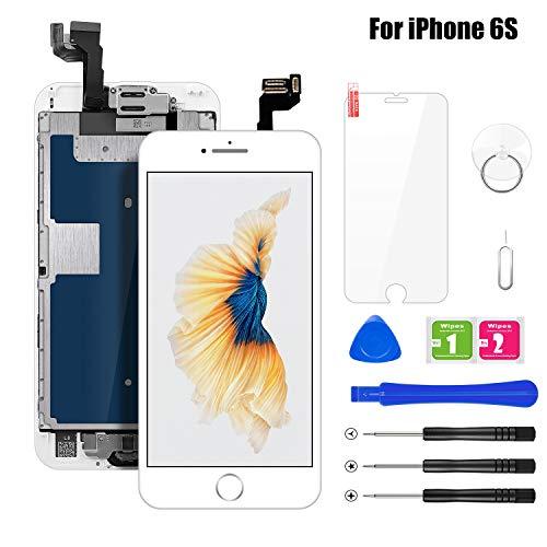 buture schermo per iphone 6s lcd touch display bianco(4.7 pollici) ,assemblaggio digitalizzatore compatibile(con home pulsante,fotocamera,altoparlante,sensore di prossimit)kit completo di riparazione
