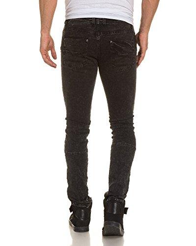 Gov Denim - Jeans noir slim homme fashion bandes relief Noir