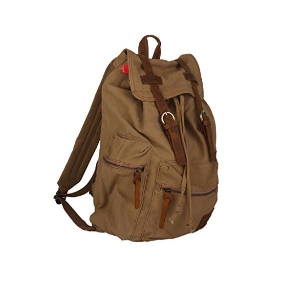 Generic Canvas Leather Satchel School Military Shoulder Bag Backpack Khaki