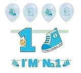 Feste Feiern zum 1. Geburtstag Junge | 5 Teile Luftballons Girlande Schuhe Banner Blau Hellblau Bunt Party Deko Set Happy Birthday