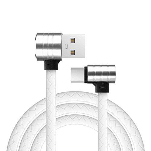 Voberry Datum Kabel, L Form 90 Grad 1M Micro USB Typ C Lade Daten Schnellladegerät für Samsung S8 (Weiß) (Hinweis 4 Geflochtene Kabel Ladegerät)
