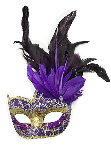Coolwife Kostüm Maske Feder Maskerade Maske Halloween Karneval Cosplay Partei Masque (Lila (Masque Ball Kostüme)