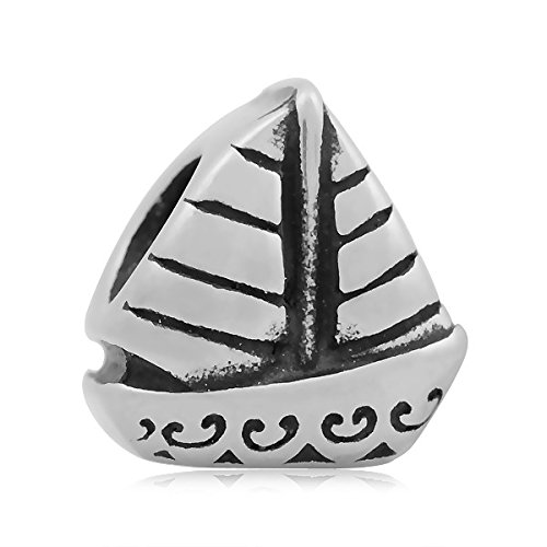 """Newsbenessere.com 4115hhqzYHL Andante-Stones 925 Perlina d'argento Bead """" Vela barca """" Ciondolo da donna Charm per bracciali e collane europei + organza sacchetto"""