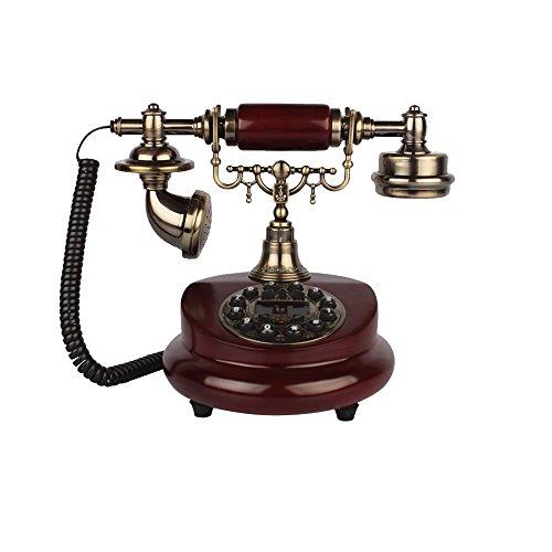 WJQSD Téléphone fixe européen rétro-salon chambre à coucher fixe téléphone à la peinture à l'ancienne Version à bouton ordinaire + double sonnerie mécanique et électronique (appelez la ligne téléphoni