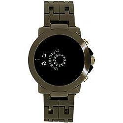 Softech Men's Jump Hour Disk Display Analog Metal Wrist Watch Gun Black Quartz Extra Battery