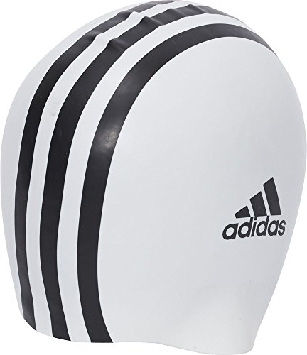 adidas SIL 3Str CP 1Pc Swimming Cap, Unisex Adulto, White/Black, NS