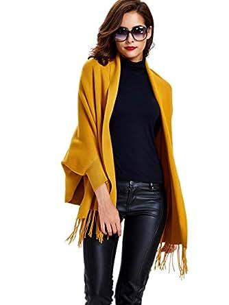Kinikiss scialle sciarpa donna Eleganti invernale Lavorato a Maglia Poncho Mantelle Scialle Cardigan Inverno, taglia unica - due colori (giallo)