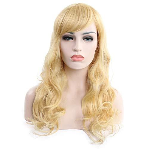 Verloren Kostüm Hunde - JIAJ Hunde Langes lockiges Haar hellgolden hitzebeständige synthetische Drahtperücke for Frauen hellgolden for Frauen Mädchen (Farbe : Light Gold)