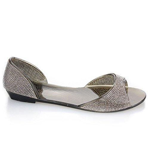 Aarz Femmes Mesdames Soirée Casual Flat Diamante doux Jelly Slipper Chaussures Taille (noir, champagne, blanc) Noir