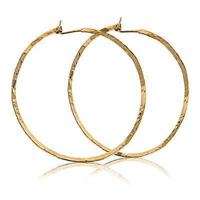 Boucles d'oreilles créoles martelées Grand cerceau en or 14 carats rempli de boucles d'oreilles faites à la main de 65 cm (65 po)
