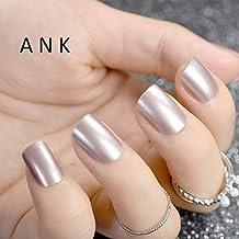 24 uñas postizas de color rosa natural con purpurina acrílica francesa blanca y transparente