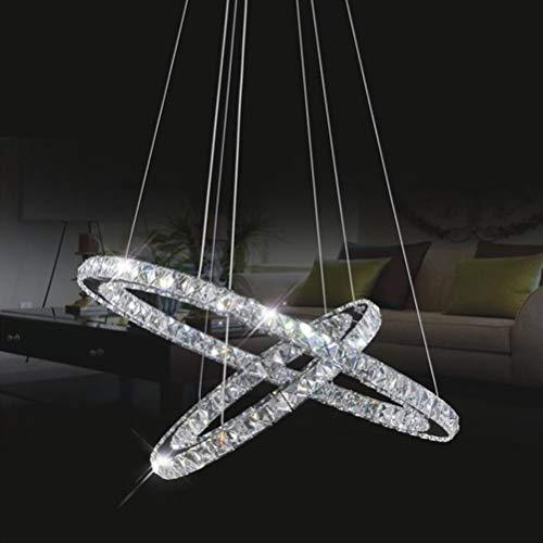 Pendellampe LED 2 Ring Oval Kristall Pendelleuchte Modern Innen Design Lampe Hängende Lampen Kronleuchter Deckenlampe Art Edelstahl Esstisch Esszimmer Bar Schlafzimmer Decken leuchte Haengeleuchte