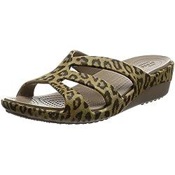 Crocs - Frauen Sanrah Grafik Riemchen Wedge, EUR: 37.5, Leopard