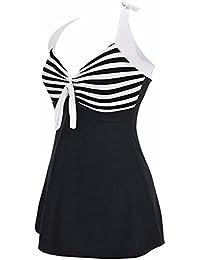 ALICECOCO Femme Maillot de bain Push Up Rembourré Amincissant Bikini Style Robe Tankini Grande Taille Beachwear