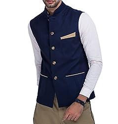 Mr Buttons Mens Slim Fit Nehru Jacket NJA014-S_Blue_Small